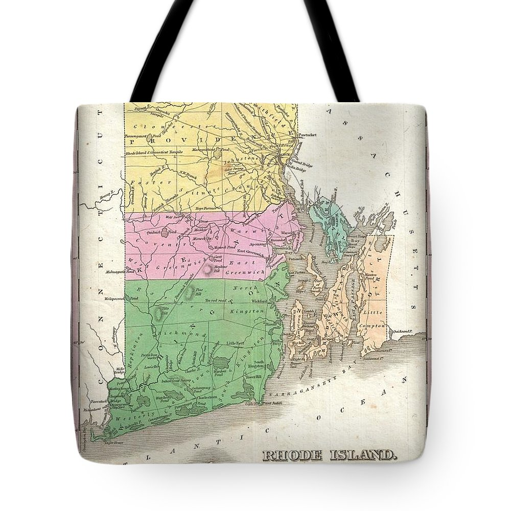 A Beautiful Example Of Finley's Important 1827 Map Of Rhode Island. Includes Block Island.  Depicts The State With Moderate Detail In Finley's Classic Minimalist Style. Shows River Ways Tote Bag featuring the photograph 1827 Finley Map Of Rhode Island by Paul Fearn