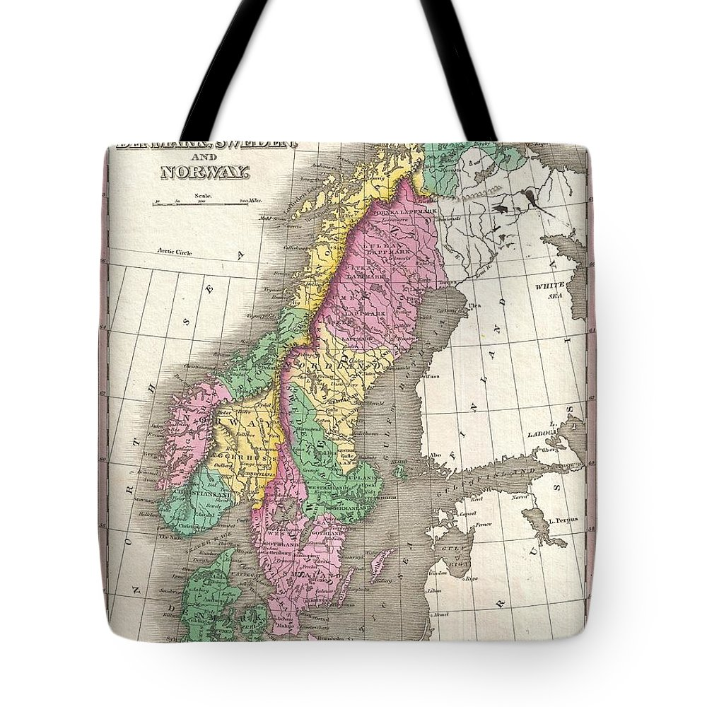 A Beautiful Example Of Finley's Important 1827 Map Of Scandinavia. Covers Norway Tote Bag featuring the photograph 1827 Finley Map Of Scandinavia Norway Sweden Denmark by Paul Fearn