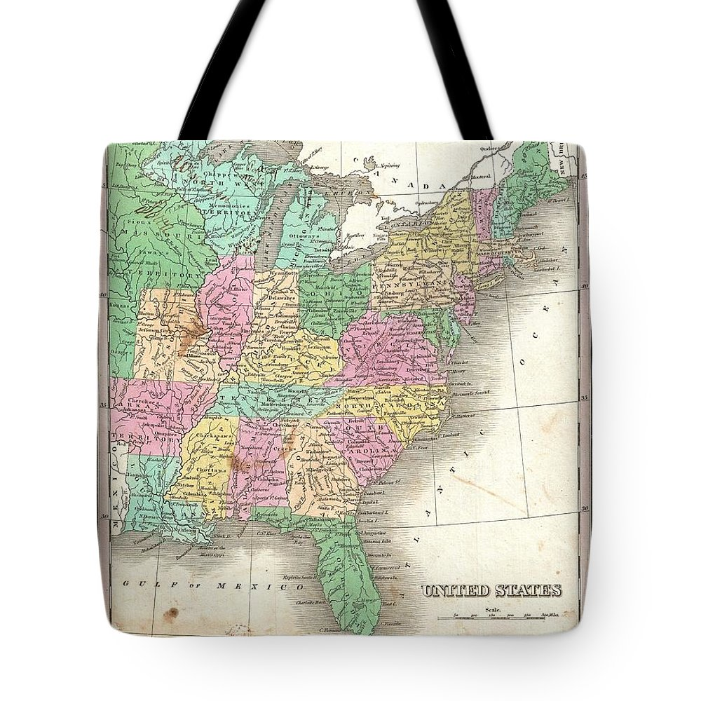 This Is Finley's Desirable 1827 Map Of The United States. Covers The United States As It Existed In 1827 Tote Bag featuring the photograph 1827 Finley Map Of The United States by Paul Fearn