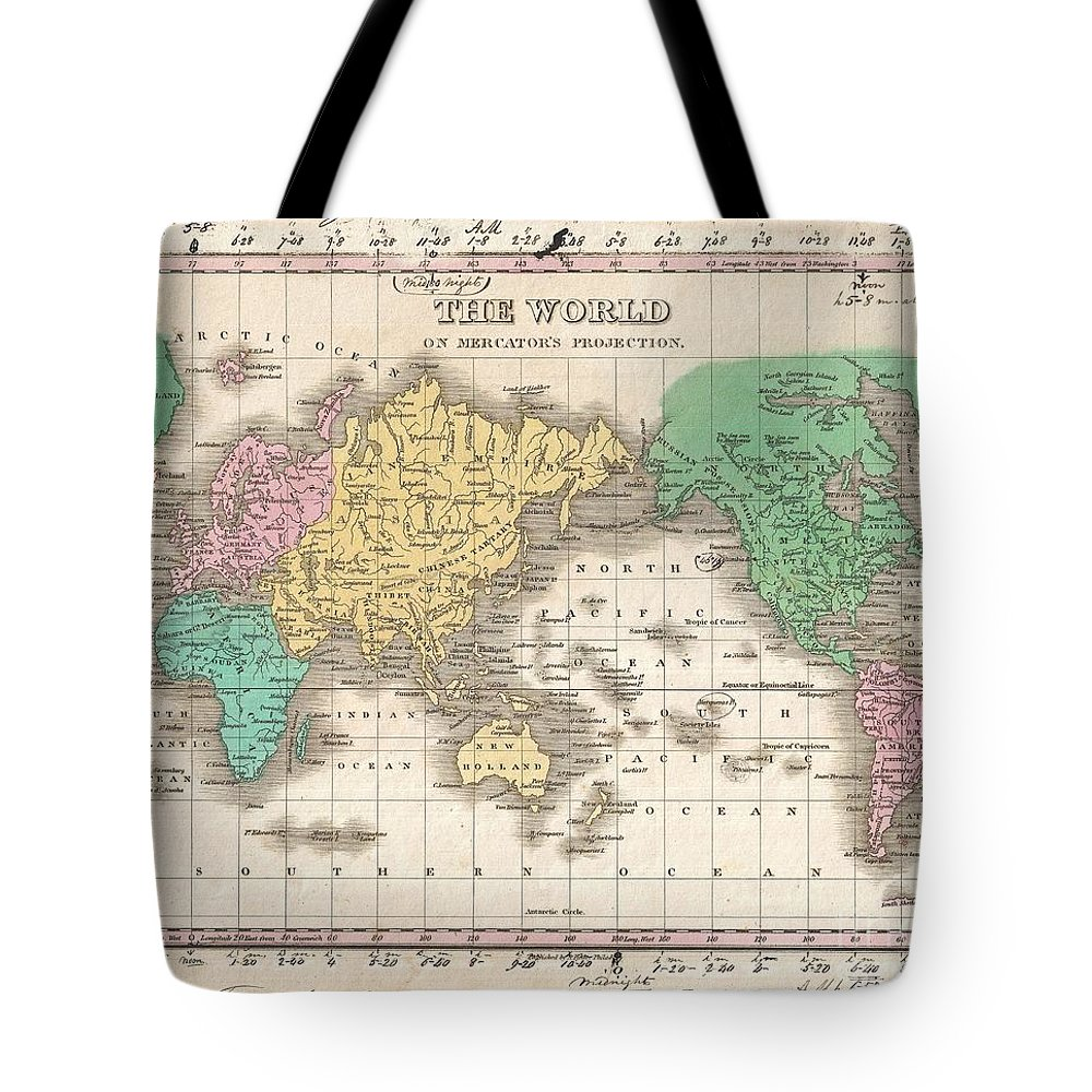 This Is Finley's Desirable 1827 Map Of The World. Covers The Entire World On A Mercator Projection. Identifies Deserts Tote Bag featuring the photograph 1827 Finley Map Of The World by Paul Fearn