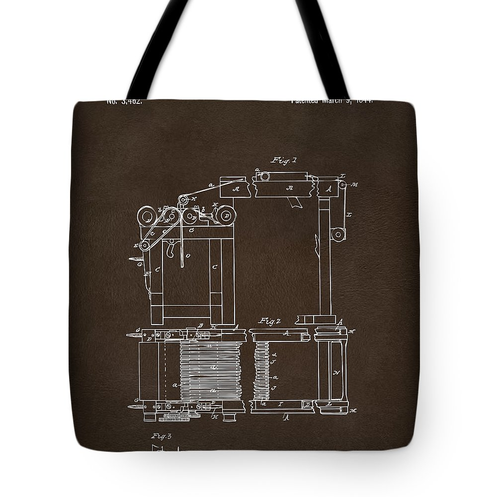 Charles Goodyear Tote Bag featuring the digital art 1844 Charles Goodyear India Rubber Goods Patent Espresso by Nikki Marie Smith