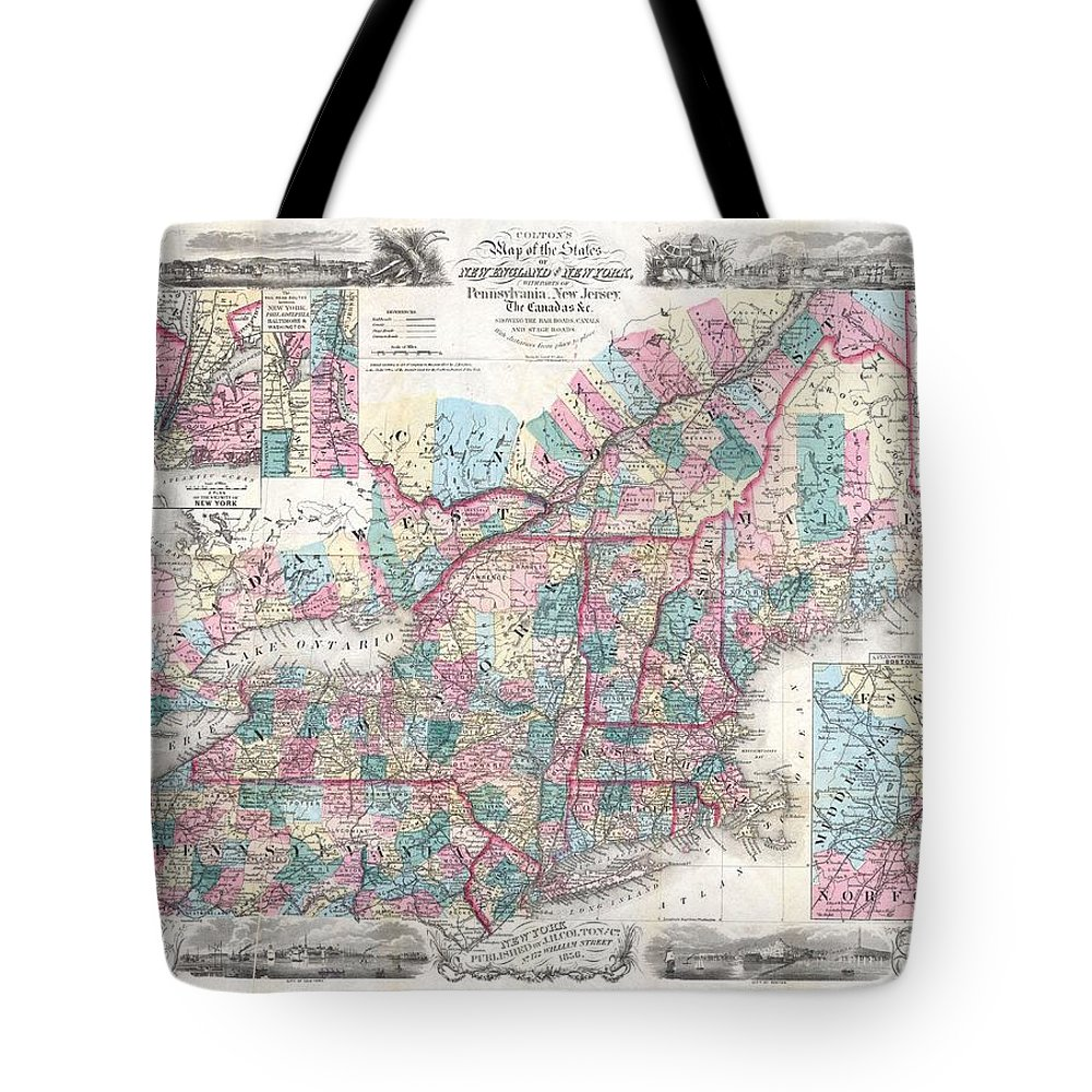 Tote Bag featuring the photograph 1856 Colton Pocket Map Of New England And New York by Paul Fearn