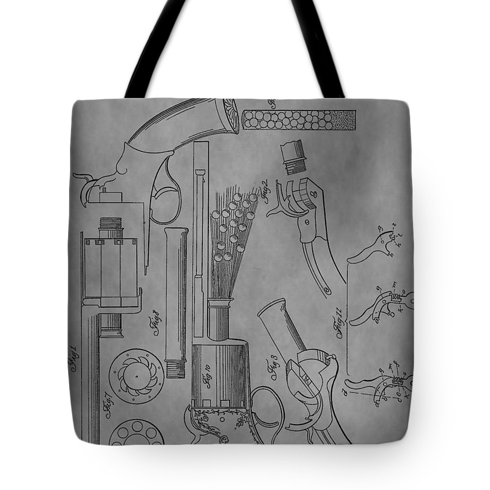 Lemat Revolver Patent Tote Bag featuring the drawing 1856 Revolver Patent by Dan Sproul