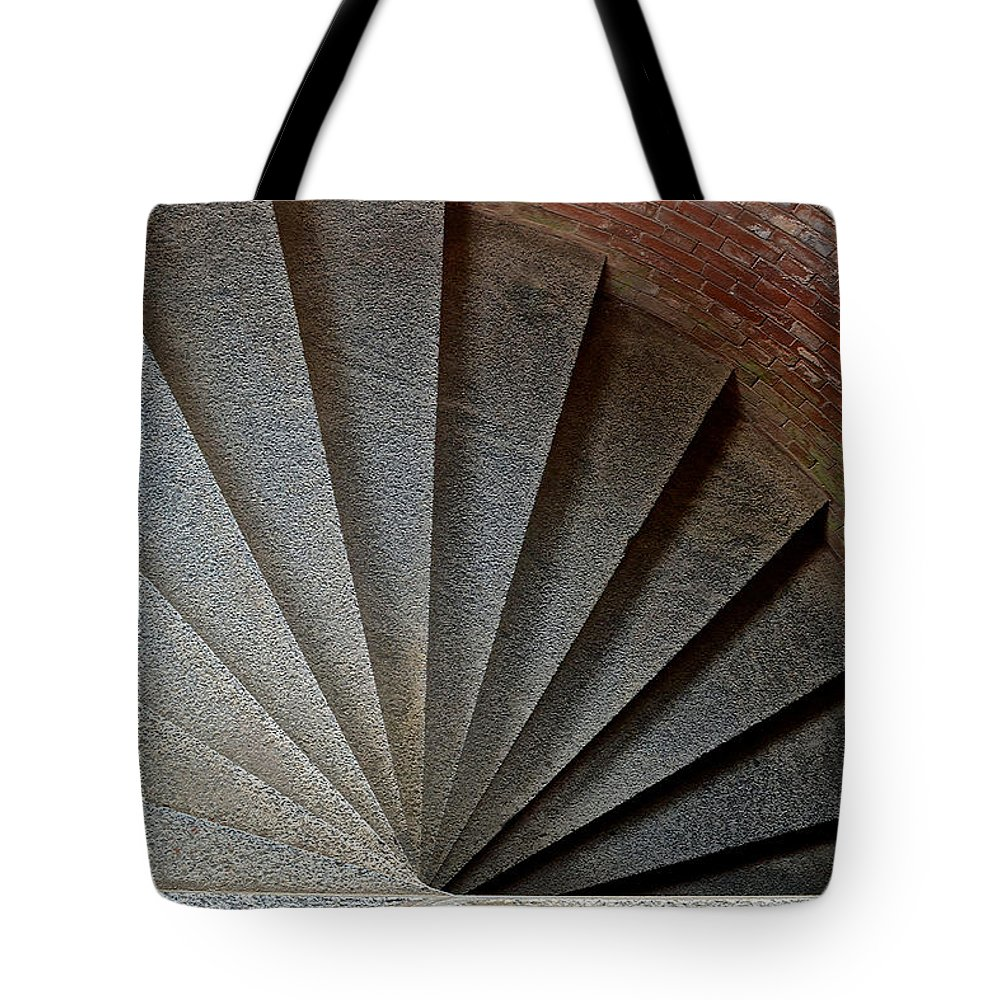 Cannon Turret Tote Bag featuring the photograph 1861 Fort Point Tower Stairs San Francisco Bay by Bill Owen