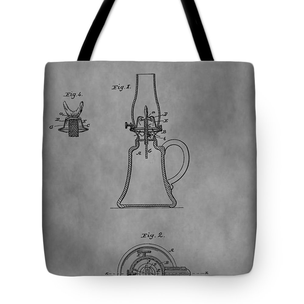 Oil Lamp Patent Tote Bag featuring the drawing 1861 Oil Lamp Patent by Dan Sproul