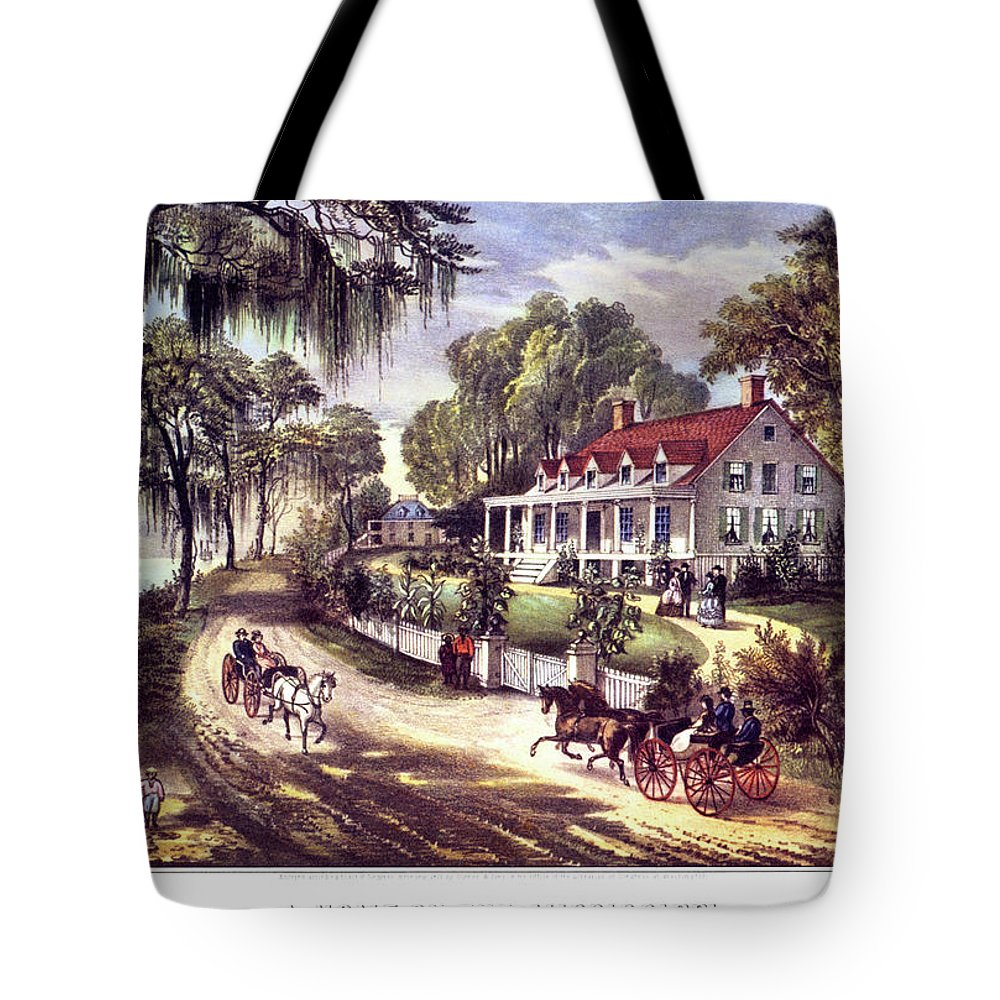 Horizontal Tote Bag featuring the painting 1870s 1800s A Home On The Mississippi - by Vintage Images