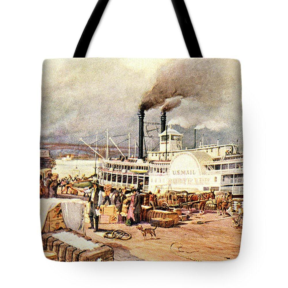 Horizontal Tote Bag featuring the painting 1870s St. Louis Missouri Mississippi by Vintage Images