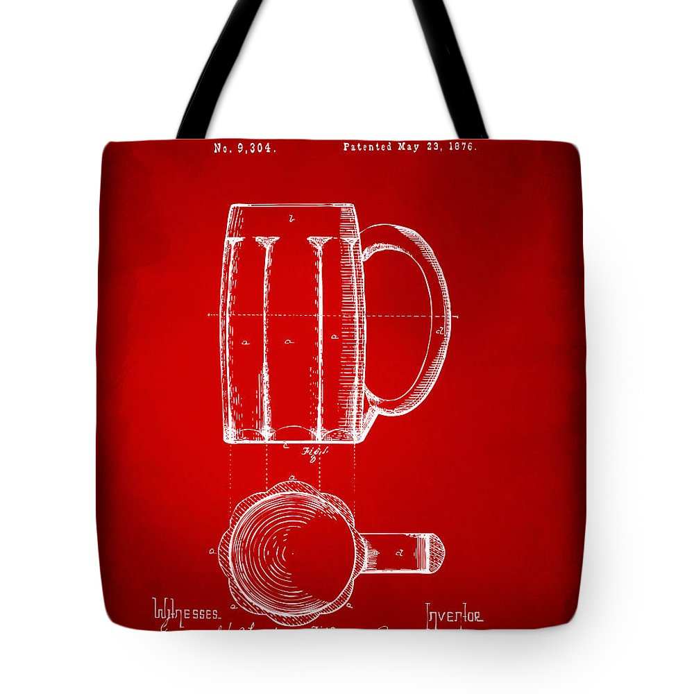 Beer Mug Tote Bag featuring the digital art 1876 Beer Mug Patent Artwork - Red by Nikki Marie Smith
