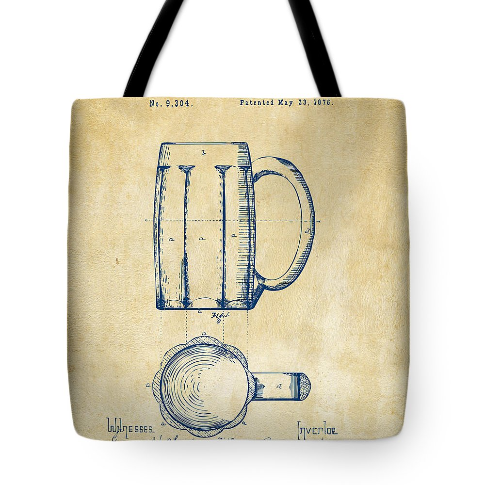 Beer Mug Tote Bag featuring the digital art 1876 Beer Mug Patent Artwork - Vintage by Nikki Marie Smith
