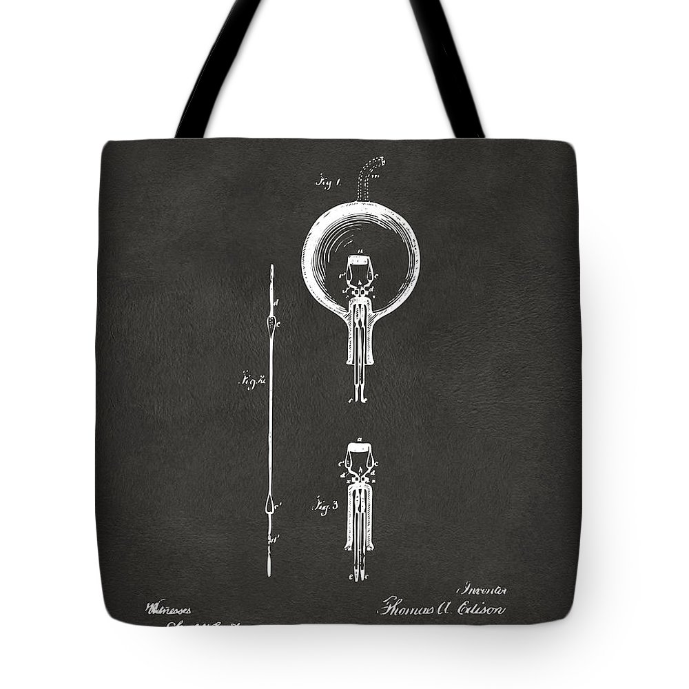 Edison Tote Bag featuring the digital art 1880 Edison Electric Lamp Patent Artwork - Gray by Nikki Marie Smith
