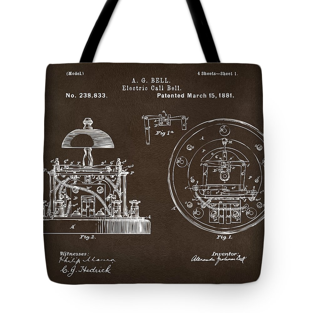 Alexander Graham Bell Tote Bag featuring the digital art 1881 Alexander Graham Bell Electric Call Bell Patent Espresso by Nikki Marie Smith