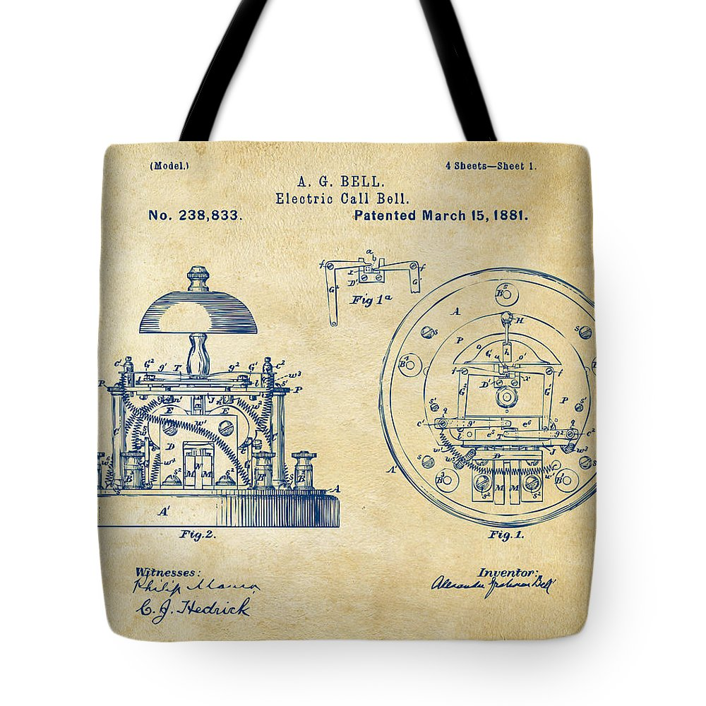 1881 Alexander Graham Bell Electric Call Bell Patent Vintage Tote