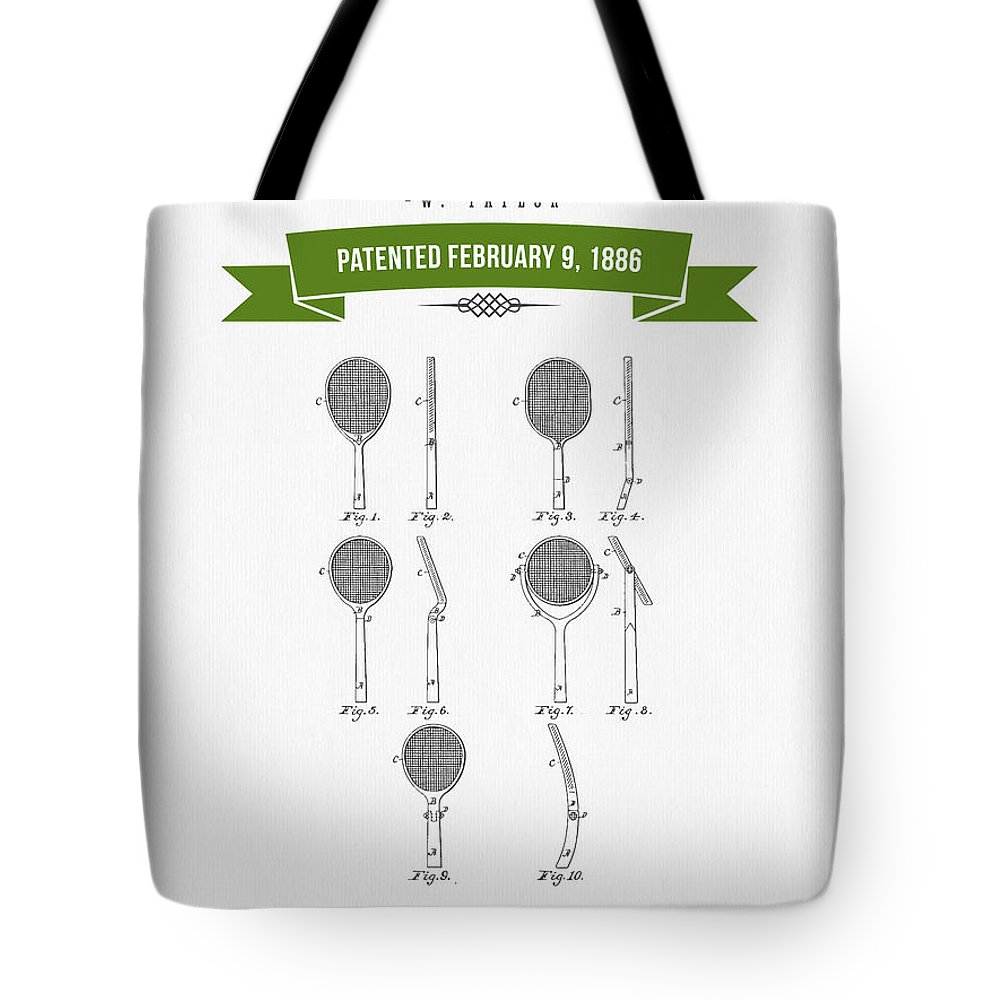 Tennis Tote Bag featuring the digital art 1886 Tennis Racket Patent Drawing - Retro Green by Aged Pixel