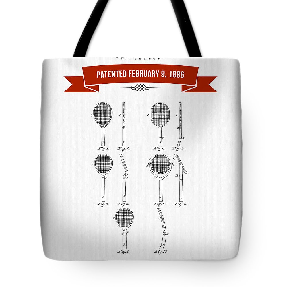 Tennis Tote Bag featuring the digital art 1886 Tennis Racket Patent Drawing - Retro Red by Aged Pixel