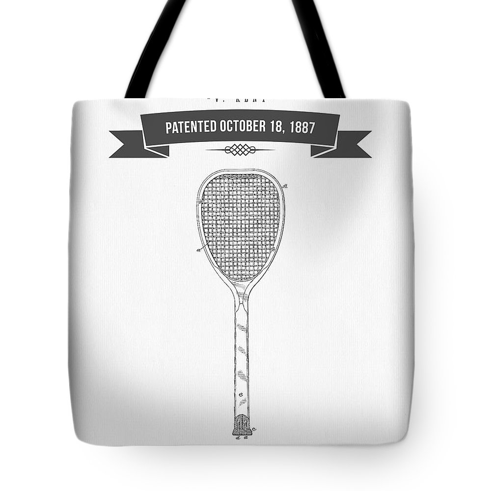 Tennis Tote Bag featuring the digital art 1887 Tennis Racket Patent Drawing - Retro Gray by Aged Pixel