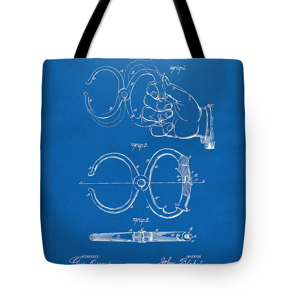 1891 police nippers handcuffs patent artwork blueprint tote bag police tote bag featuring the digital art 1891 police nippers handcuffs patent artwork blueprint by malvernweather Choice Image