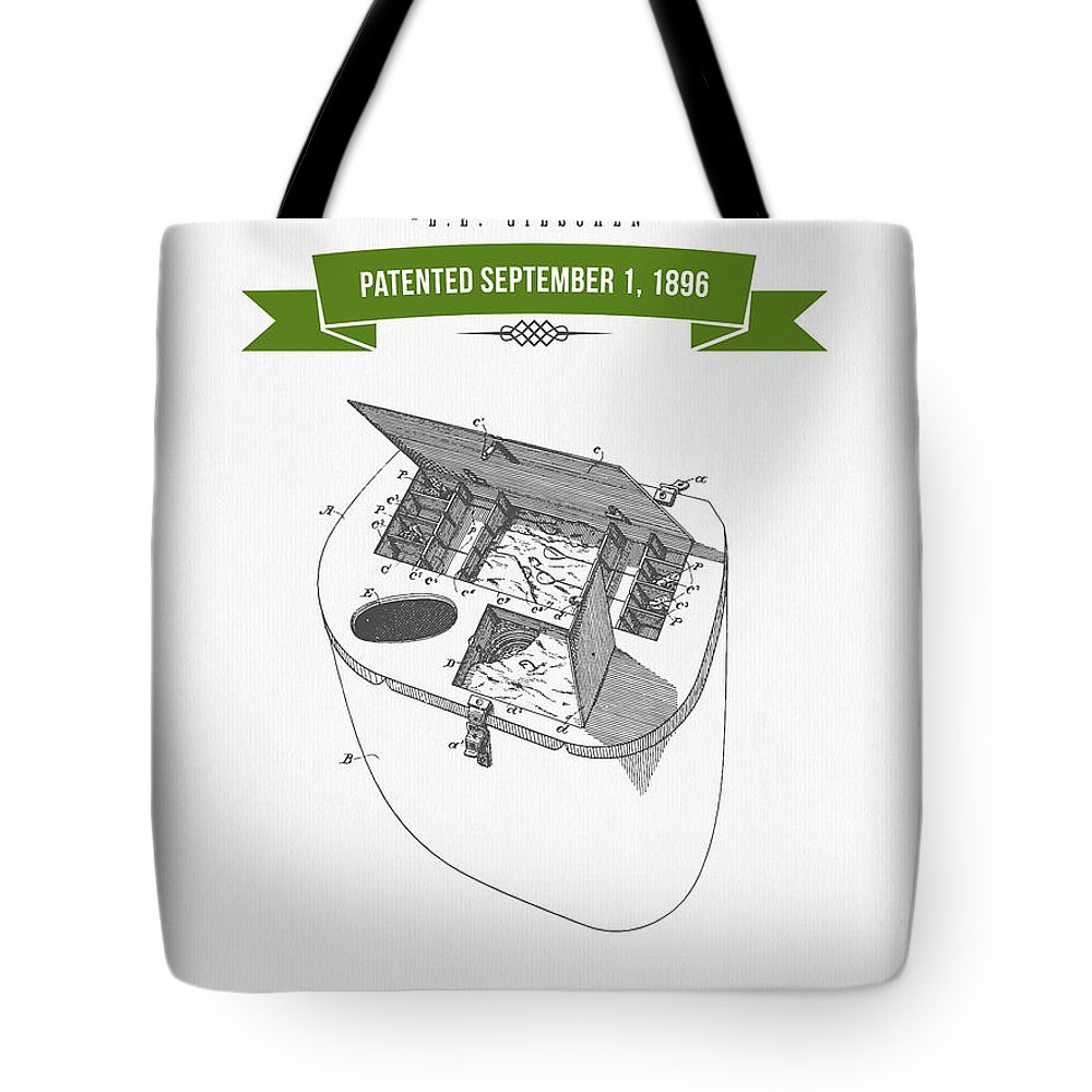 Fishing Basket Tote Bag featuring the digital art 1896 Fishing Basket Patent Drawing - Green by Aged Pixel