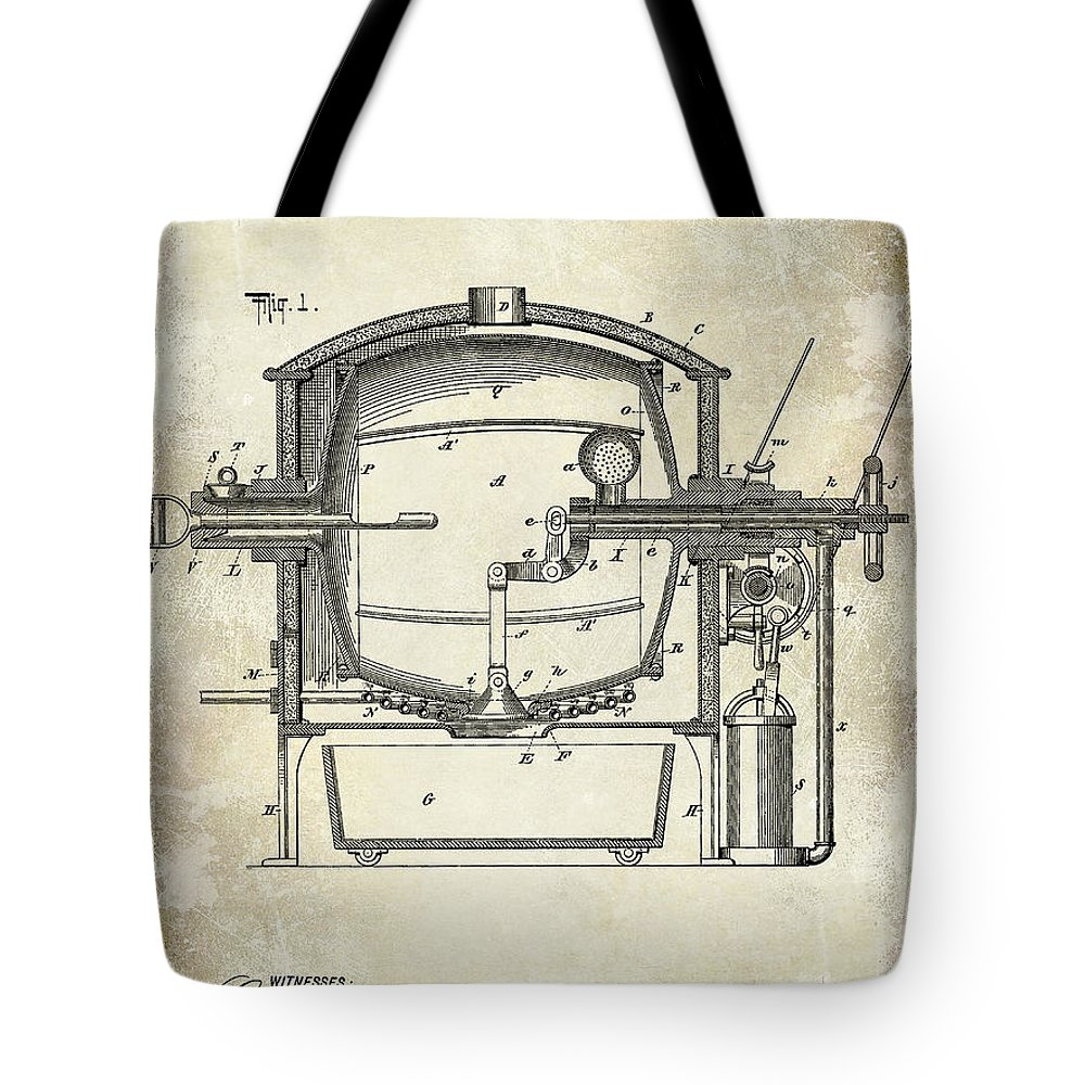 Tote bag drawing - 1900 Coffee Roaster Patent Drawing Tote Bag Featuring The Photograph 1900 Coffee Roaster Patent Drawing By