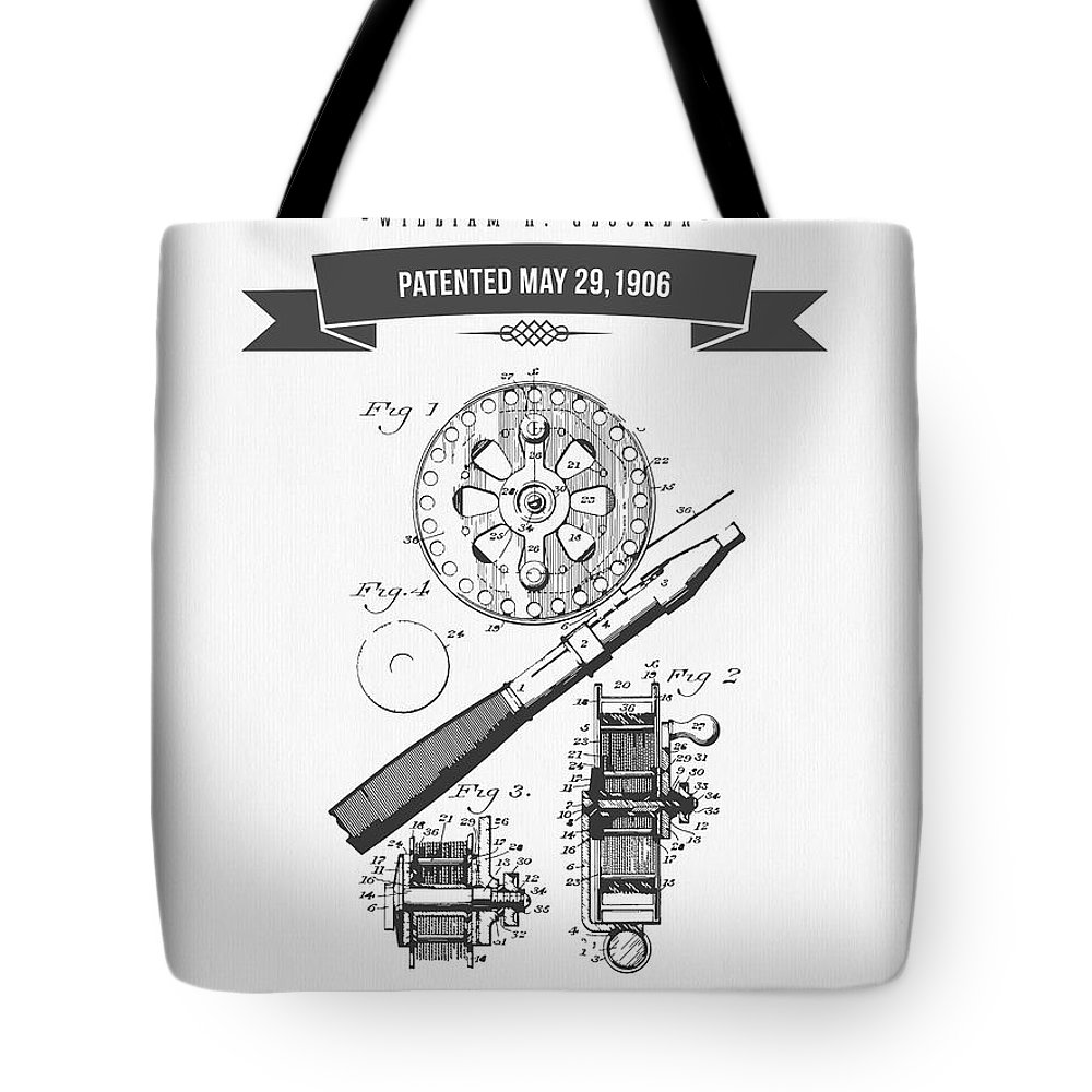 Fishing Reel Tote Bag featuring the digital art 1906 Fishing Reel Patent Drawing by Aged Pixel