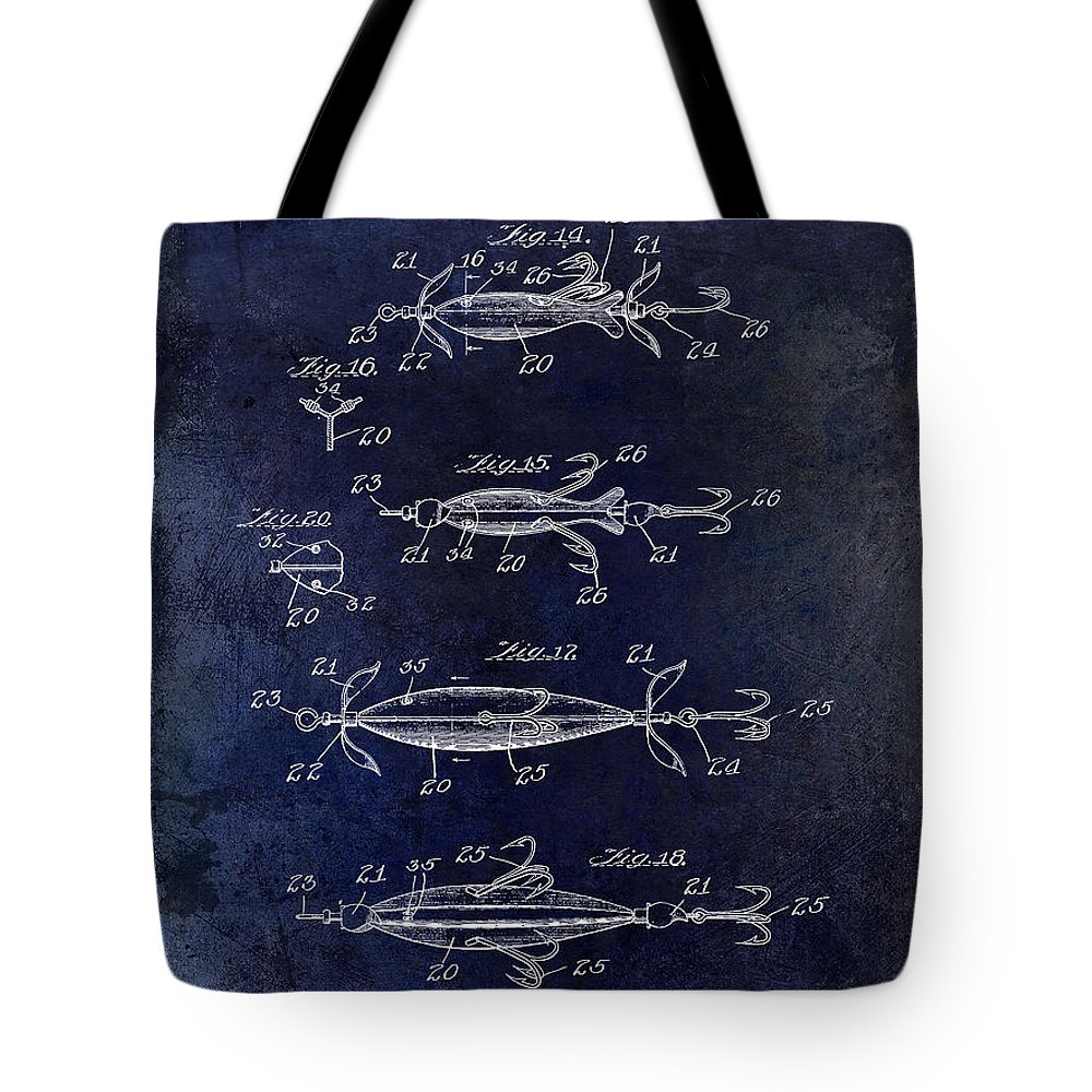 Fly Fishing Lure Tote Bag featuring the photograph 1907 Fishing Lure Patent Blue by Jon Neidert