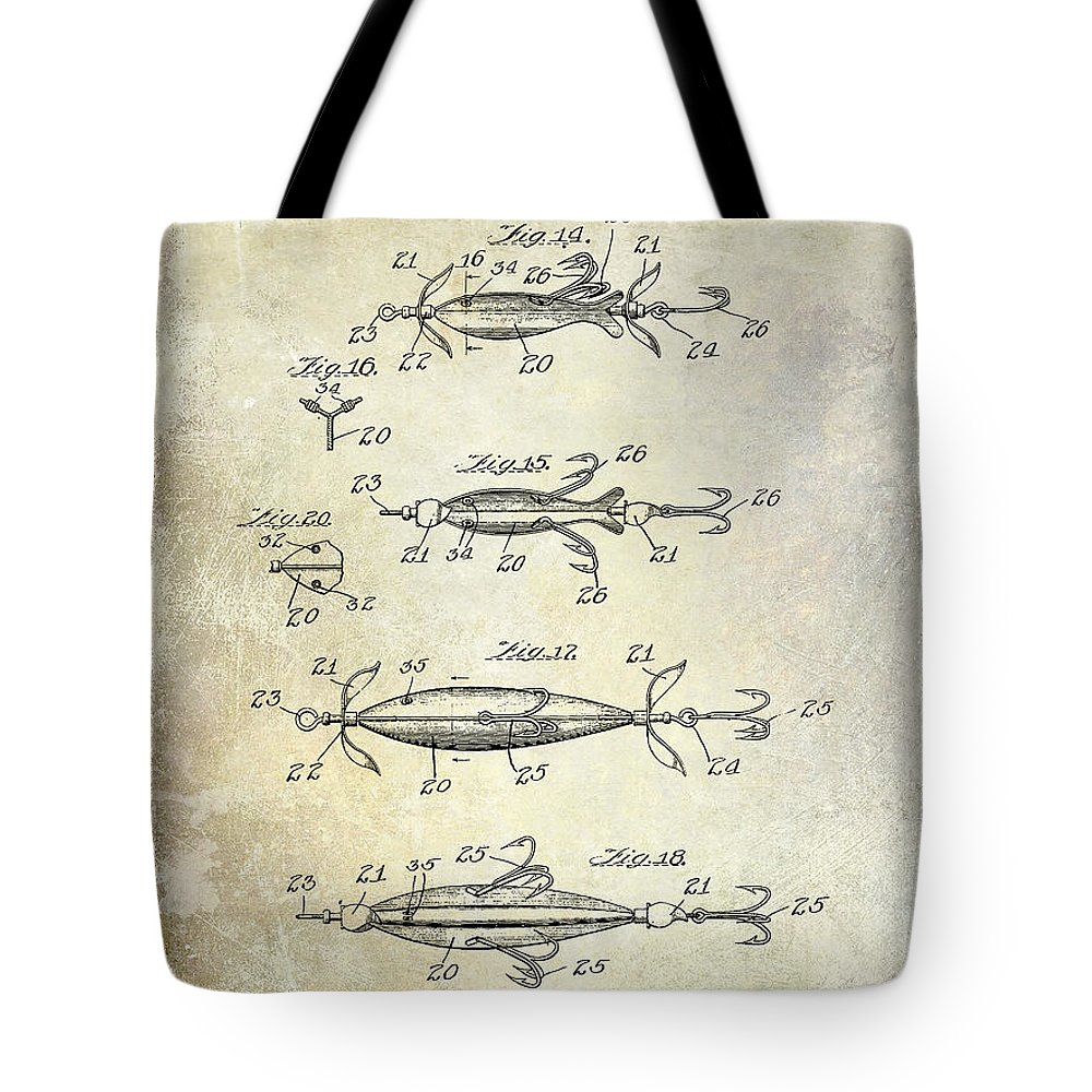 Fly Fishing Lure Tote Bag featuring the photograph 1907 Fishing Lure Patent by Jon Neidert