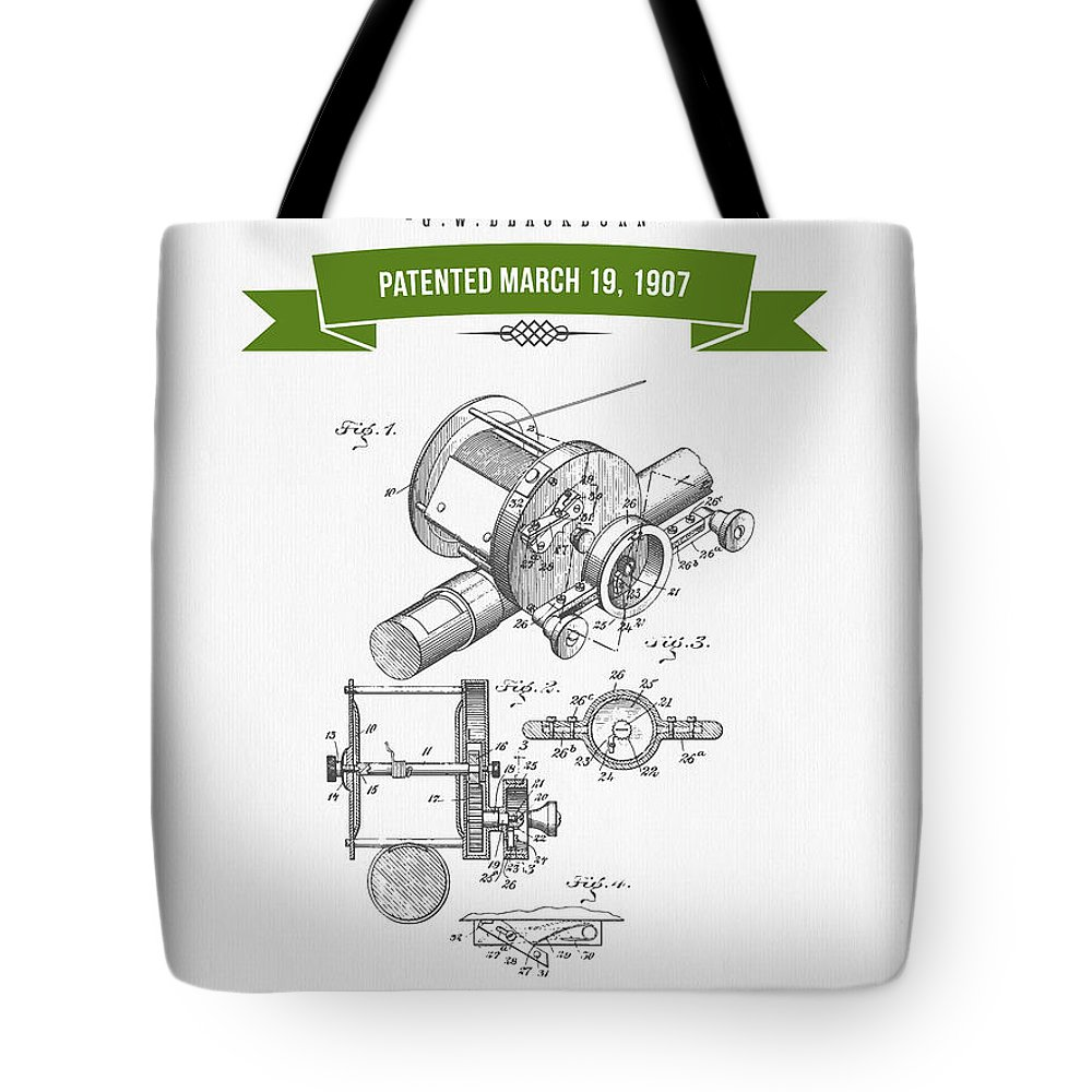 Fishing Reel Tote Bag featuring the digital art 1907 Fishing Reel Patent Drawing - Green by Aged Pixel