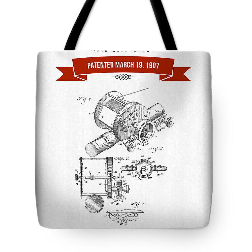 Fishing Reel Tote Bag featuring the digital art 1907 Fishing Reel Patent Drawing - Red by Aged Pixel