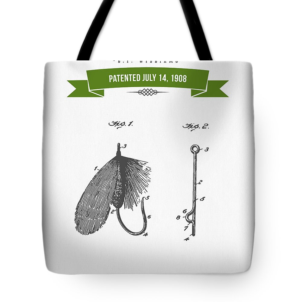 Fishing Tote Bag featuring the digital art 1908 Fish Hook Patent Drawing - Retro Geen by Aged Pixel