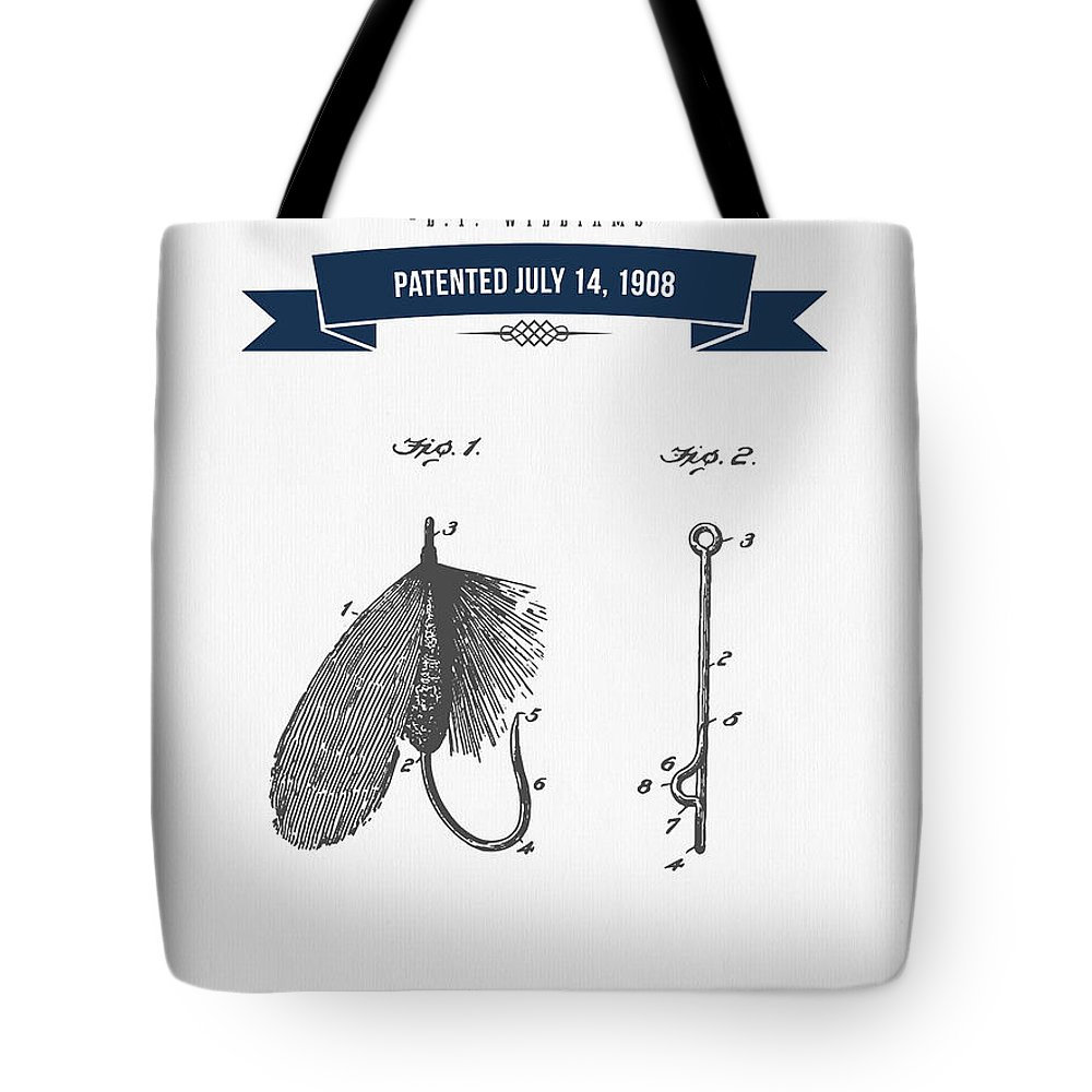 Fishing Tote Bag featuring the digital art 1908 Fish Hook Patent Drawing - Retro Navy Blue by Aged Pixel