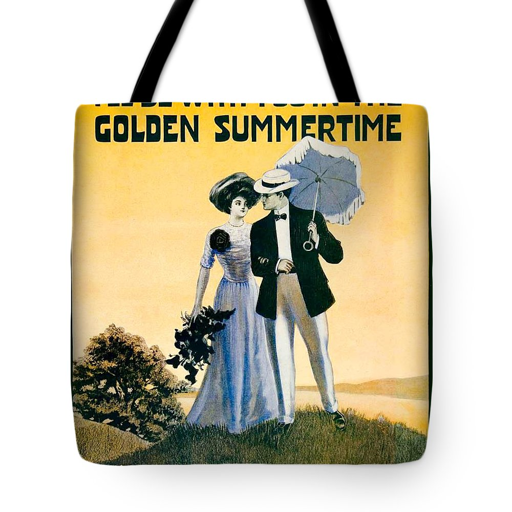 Sheet Music Tote Bag featuring the digital art 1908 - I'll Be With You In The Golden Summertime - Lew Bonner And J.j. Bachman - Sheet Music - Color by John Madison