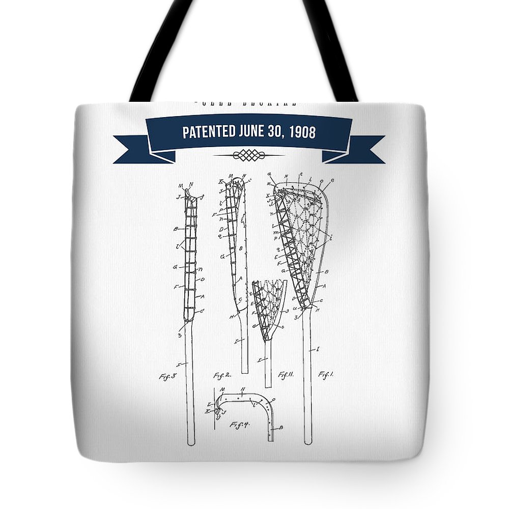 Lacrosse Tote Bag featuring the digital art 1908 Lacrosse Stick Patent Drawing - Retro Navy Blue by Aged Pixel