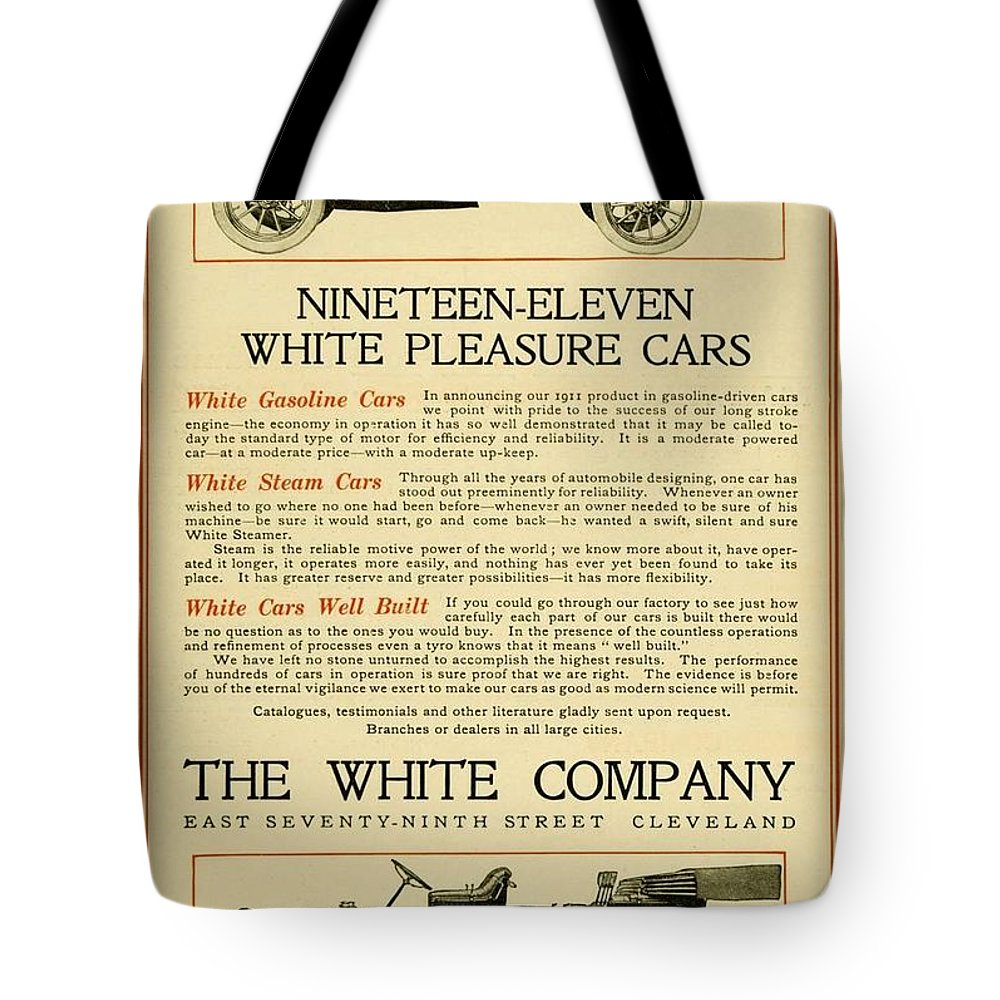 Cars Tote Bag featuring the digital art 1911 - White Automobile Company Advertisement by John Madison