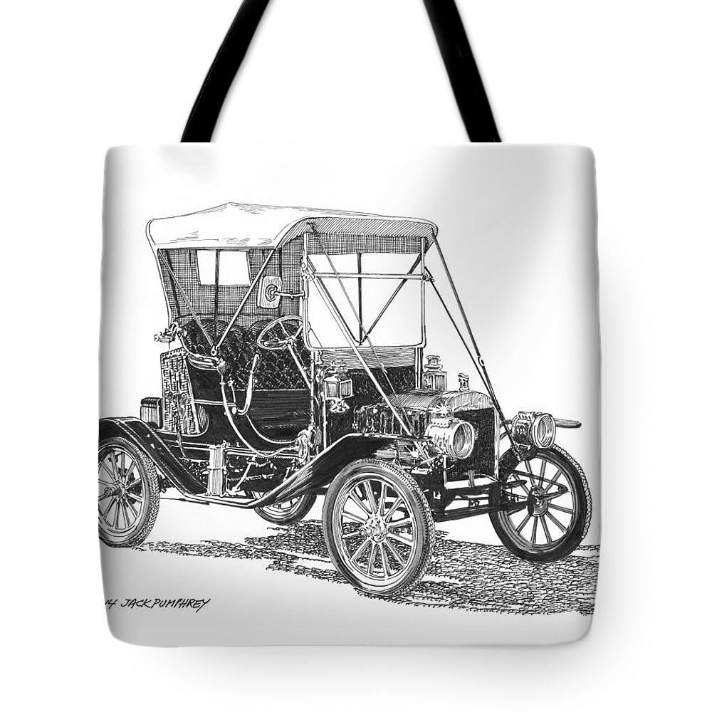 Pen & Ink Drawing By Jack Pumphrey Of The 1911 Ford Model T Tote Bag featuring the drawing 1911 Ford Model T by Jack Pumphrey