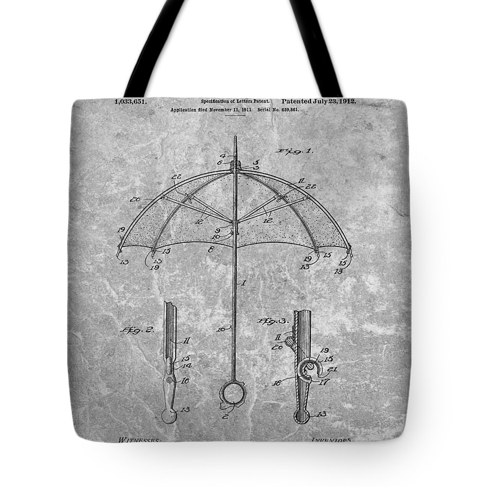 1912 Umbrella Patent Tote Bag featuring the drawing 1912 Umbrella Patent Charcoal by Dan Sproul