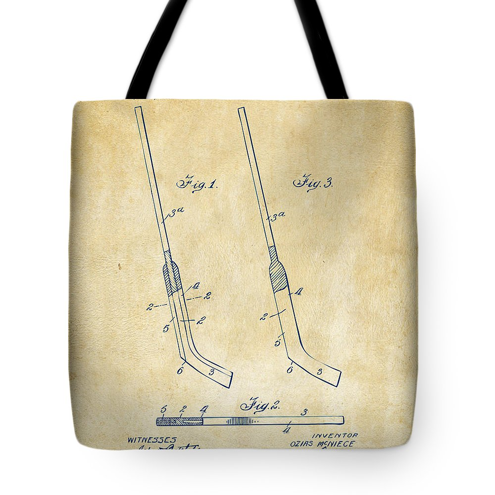 1916 Hockey Goalie Stick Patent Artwork Vintage Tote Bag For Sale