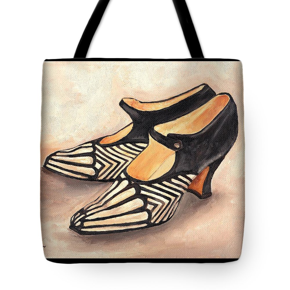 Shoe Painting Tote Bag featuring the painting Deco Darlings by Cecely Bloom
