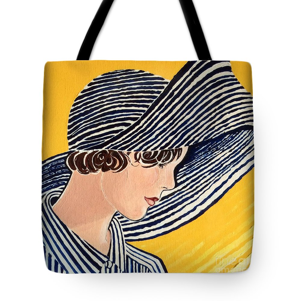 Summer Tote Bag featuring the painting 1920s Sun Hat by Barbara Chase