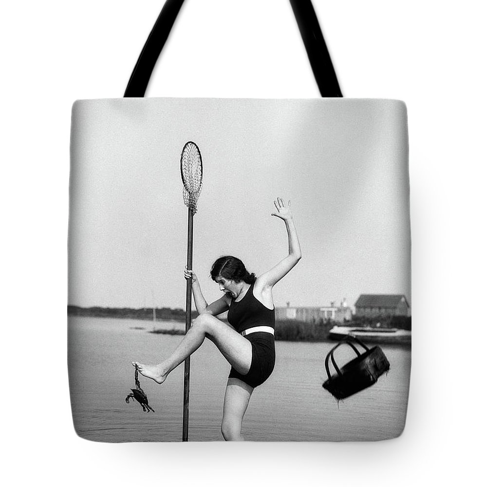 Photography Tote Bag featuring the photograph 1920s Woman Crabbing Surprised By Crab by Vintage Images