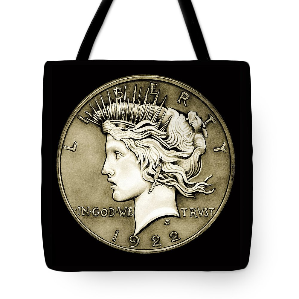 Coin Tote Bag featuring the drawing 1922 Circulated Peace Dollar by Fred Larucci