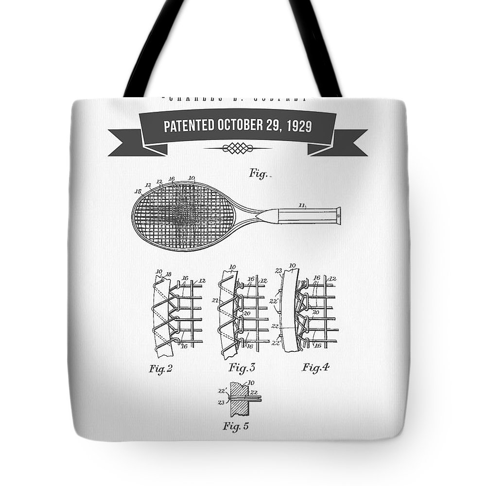 Tennis Tote Bag featuring the digital art 1929 Tennis Racket Patent Drawing - Retro Gray by Aged Pixel