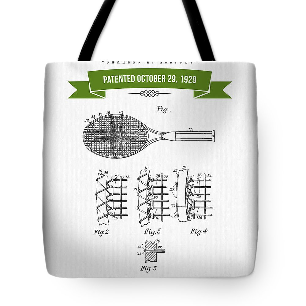 Tennis Tote Bag featuring the digital art 1929 Tennis Racket Patent Drawing - Retro Green by Aged Pixel