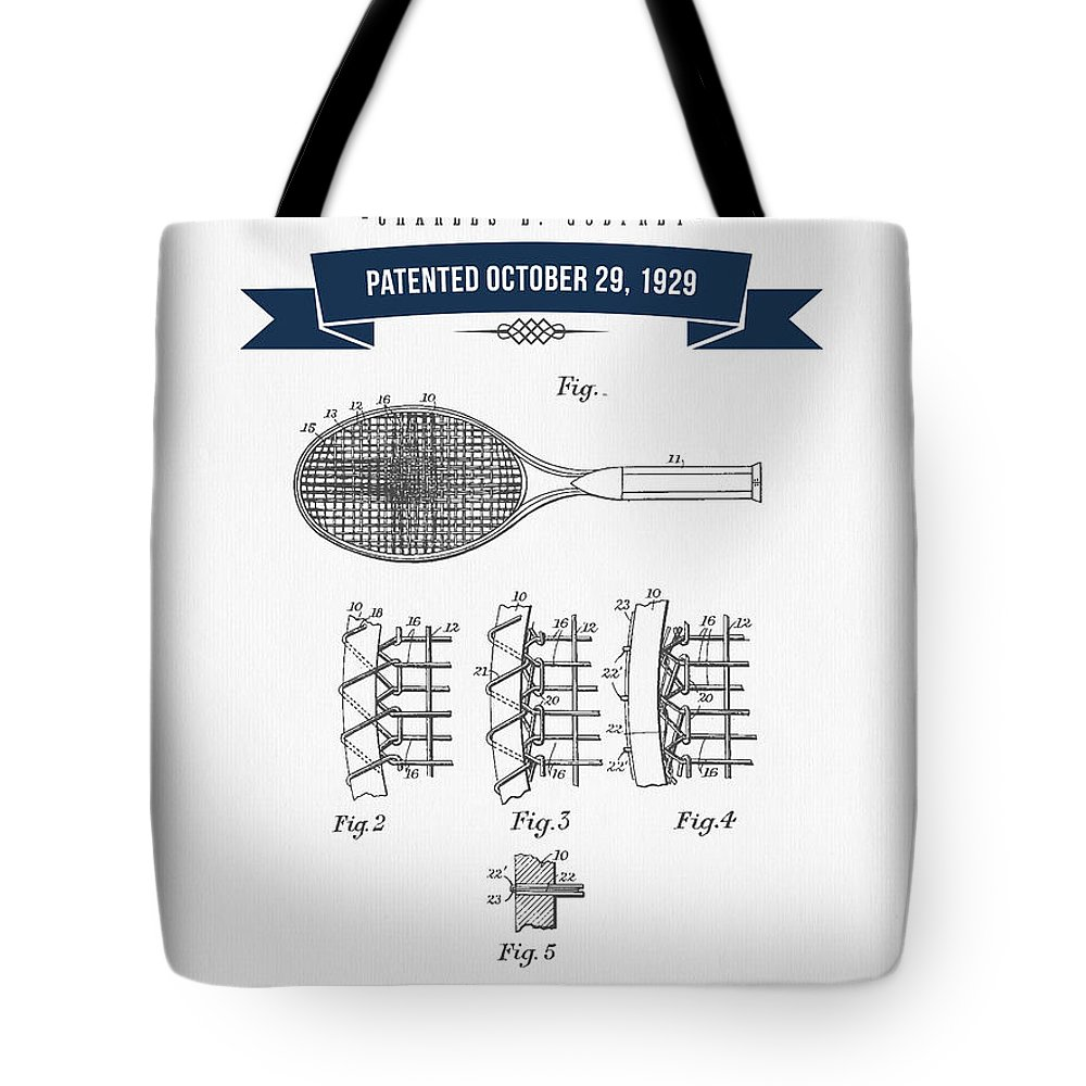 Tennis Tote Bag featuring the digital art 1929 Tennis Racket Patent Drawing - Retro Navy Blue by Aged Pixel