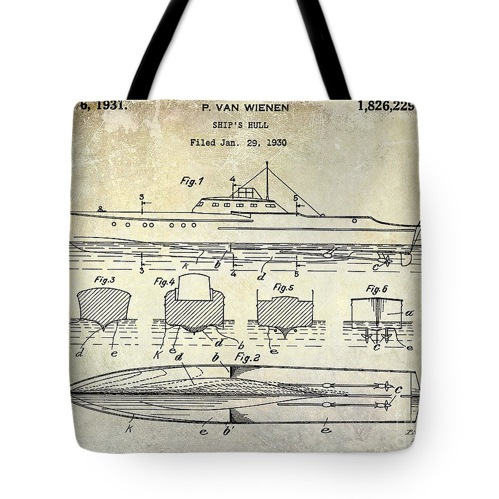 1930 Boat Hull Patent Drawing Tote Bag featuring the photograph 1930 Ship's Hull Patent Drawing by Jon Neidert