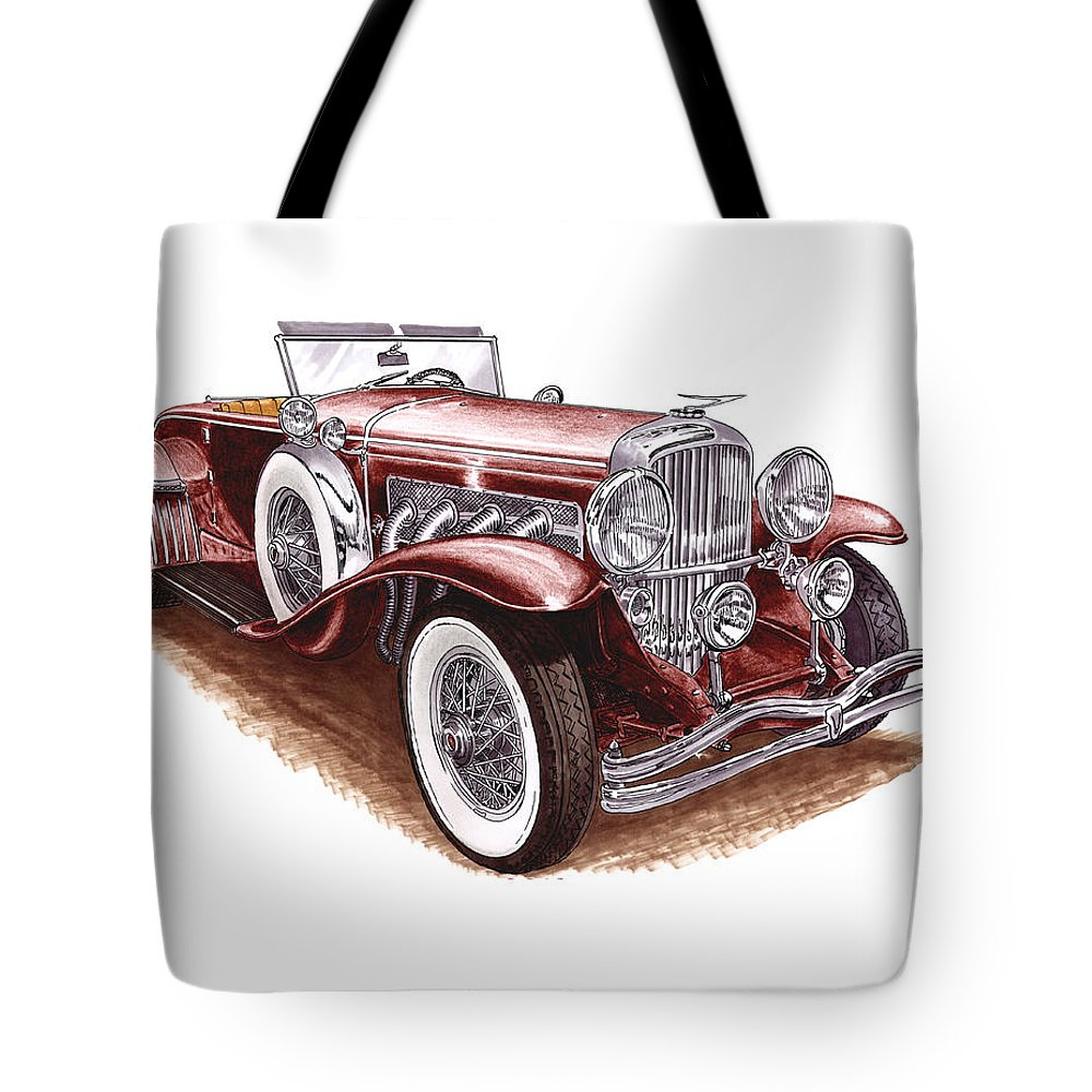 An Art Print Using Colored Pencils Of A 1930 Duesenberh Model J Roadster Coupe Tote Bag featuring the mixed media 1930 Dusenberg Model J by Jack Pumphrey