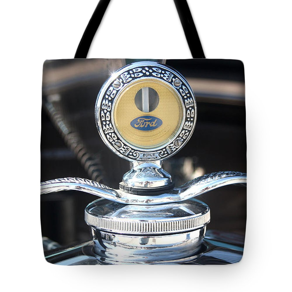 1930 Ford Model A Tote Bag featuring the photograph 1930 Ford Model A - Hood Ornament - 7488 by Gary Gingrich Galleries