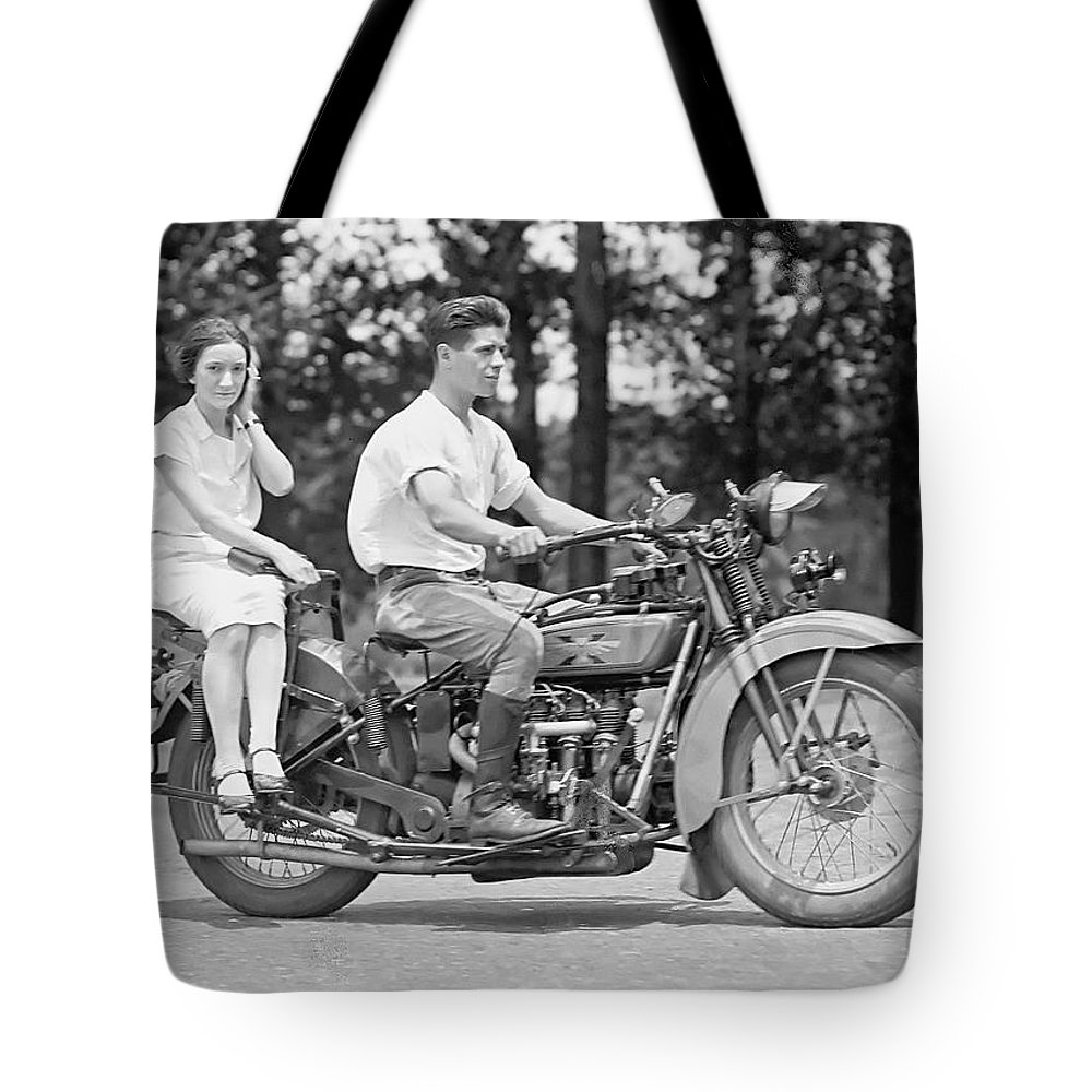 Motorcycle Tote Bag featuring the photograph 1930s Motorcycle Touring by Daniel Hagerman