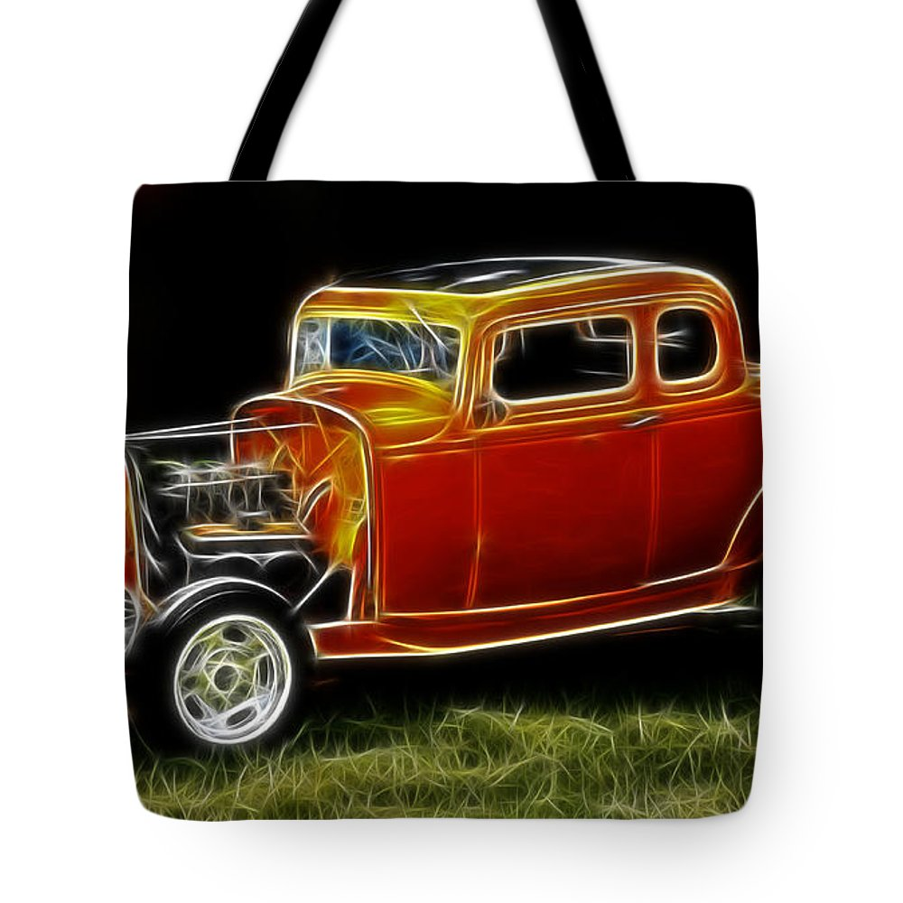 Model A Tote Bag featuring the photograph 1932 Ford Fenderless Coupe by Steve McKinzie