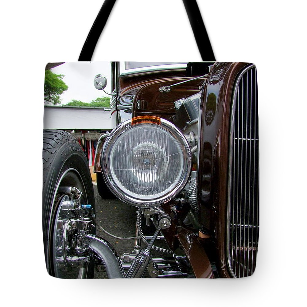 1932 Ford Roadster Tote Bag featuring the photograph 1932 Ford Roadster Head Lamp View by Mary Deal