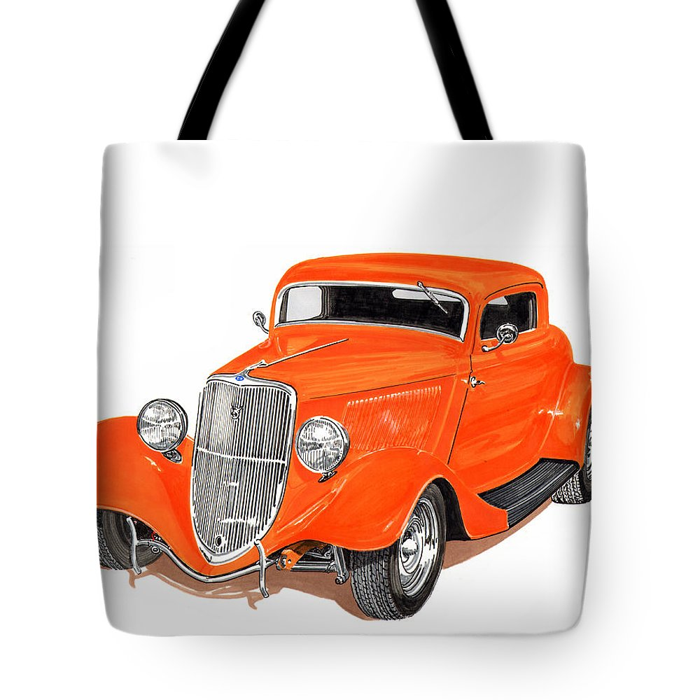 American Muscle Tote Bag featuring the painting 1933 Ford Three Window Coupe by Jack Pumphrey