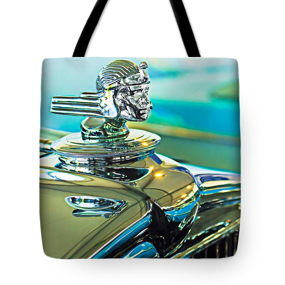 1933 Stutz Dv-32 Dual Cowl Phaeton Tote Bag featuring the photograph 1933 Stutz Dv-32 Hood Ornament by Jill Reger